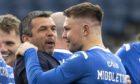Callum Davidson and Glenn Middleton celebrate winning the Scottish Cup.