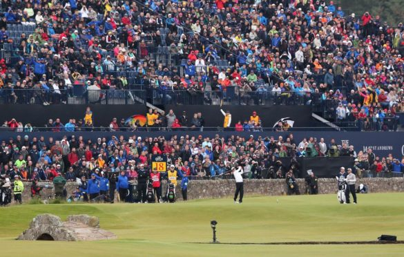 Huge crowds watch eventual champion Zach Johnson in the 2015 Open at the Old Course.