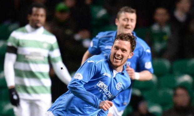 Danny Swanson celebrates his goal against Celtic.