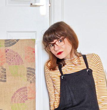 Zita Katona of Zitozza with hand-printed jute products.
