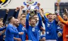 St Johnstone hold the Scottish Cup aloft after completing the domestic cup double.