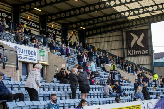Dundee fans in the Bobby Cox Stand.