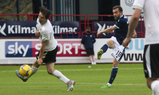 Paul McMullan fires home his second and Dundee's third.