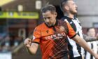 Dundee United's Peter Pawlett celebrates his goal during a Premier Sports Cup tie between Dundee United and Elgin City.