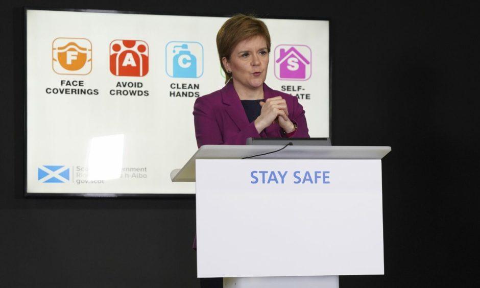 Nicola Sturgeon during a covid update