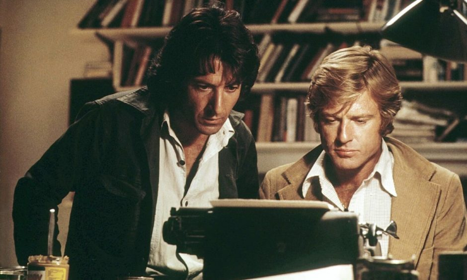 Robert Redford and Dustin Hoffman, left, type up Nixon's downfall in All The President's Men.