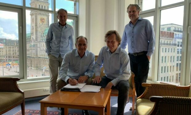Dunfermline owners: (L-R) Damir Keretic, Nick Teller, Albrecht Gundermann, Thomas Meggle