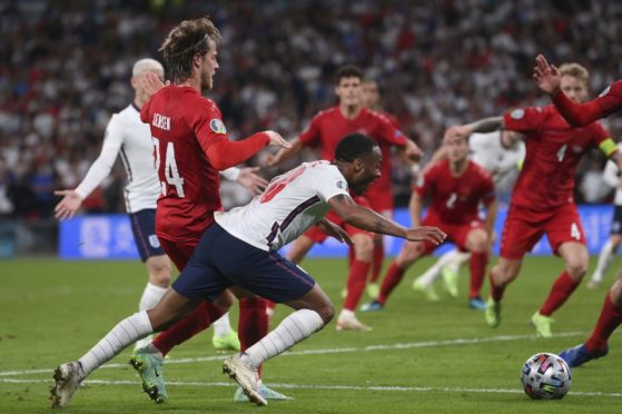 Raheem Sterling is fouled by Denmark's Mathias Jensen, leading to the penalty that helped England to the Euro 2020 final.