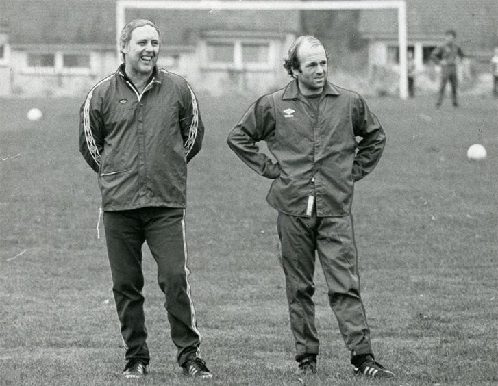 Two Scottish legends side by side – Jim McLean and Archie Gemmill in 1979.