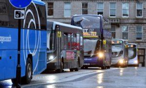 Buses on Aberdeen's Broad Street. Photo: Chris Sumner/DCT Media