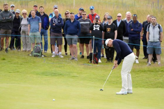 Lee Westwood has a go at birdie on the 11th at The Renaissance.