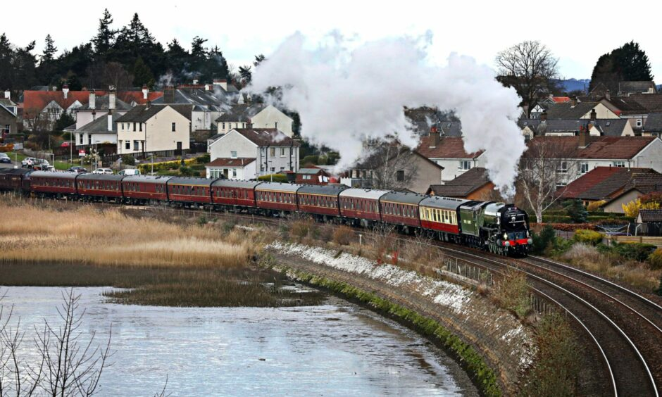 Tornado is pictured sweeping majestically around Invergowrie Bay on the way to Aberdeen in March 2019.