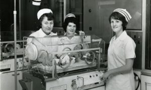 Some of the staff at the special care baby unit at Ninewells Hospital in January 1976.