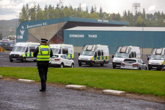 Police at McDiarmid Park