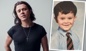 Kyle Falconer, then and now. Insert of Kyle aged 7 in St Mary's Primary School uniform.