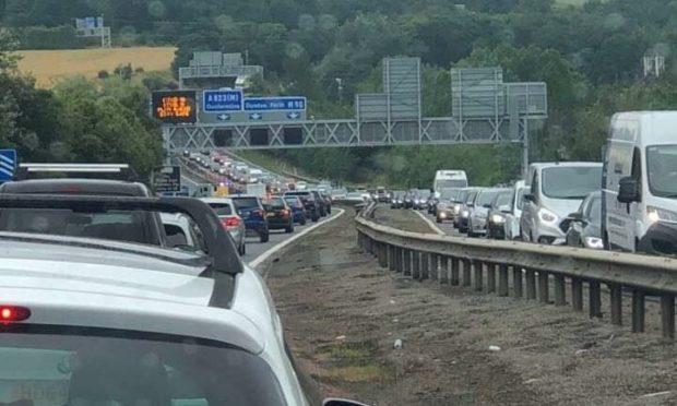 Traffic on the M90 near Rosyth on Saturday.