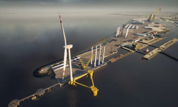 New Leith outer berth with floating foundation and turbine.