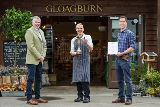 From left, Gordon Newlands from QMS and Wendy Donald and Fergus Niven from Gloagburn Farm Shop.