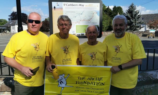 From left: Ian Cameron, Jake Gibb, Donny Mackay and Brian Dowling ready to begin the walk in Melrose.