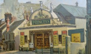 Princess Cinema, Hawkhill, Dundee, 1950s (William Johnston) (died 1967). One of the many buildings taken over by the university was the Princess Cinema, first opened as the Hippodrome Theatre in 1908.  It closed in the late 1950s and was used for a while by the university's Law School before eventually being demolished. University of Dundee Fine Art Collections.