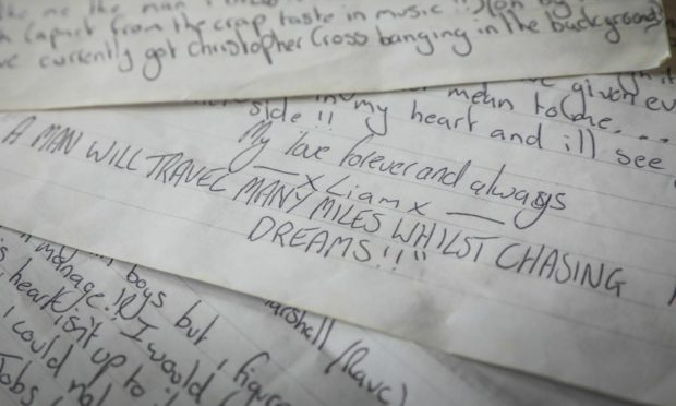 Extracts of Liam Tasker's handwritten letter to his surviving family