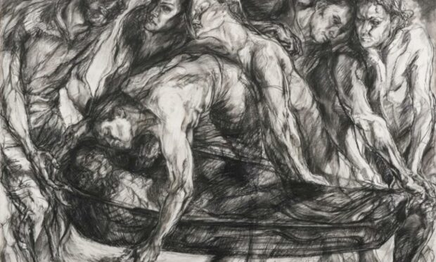 Beth L Fisher's 2006 conte and charcoal on paper Burial II is on display the Ages of Wonder exhibition at the Meffan Institute.