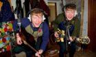 Identical Fife twins Donald and Stuart Mackay having fun in the studio.