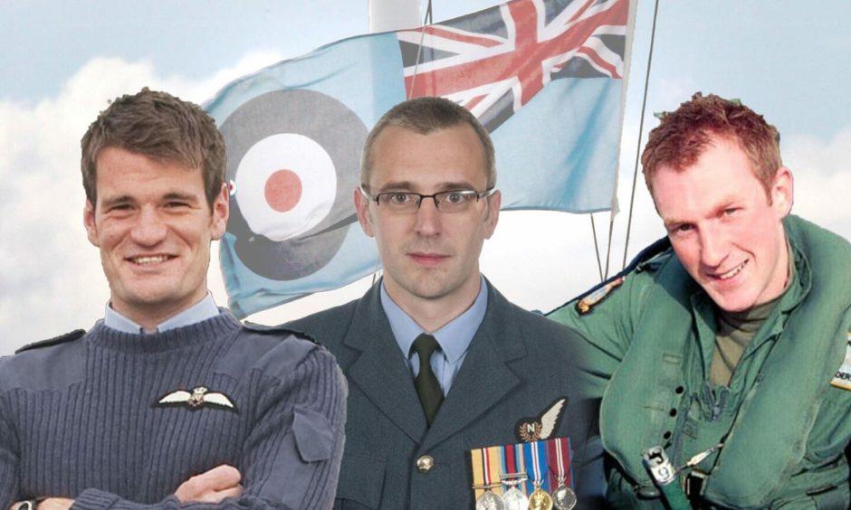 INSET L - R : Flight Lieutenant Hywel Poole, Squadron Leader Samuel Bailey and Flight Lieutenant Adam Sanders.