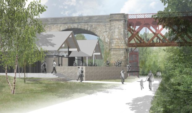 Artist impression of the revised plans for the Forth Bridge walk and visitor hub.
