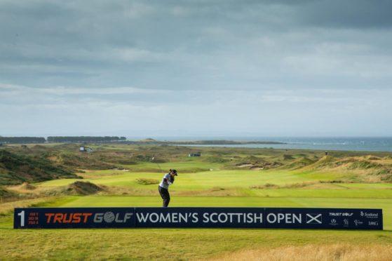 Aroya Jutanugarn hits through the winds at the Women's Scottish Open.