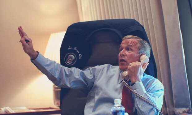 George W Bush, in his office on Air Force 1 on 9/11.