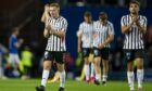 Dejected: Pybus acknowledges the Pars faithful at Ibrox