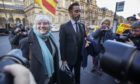 Former Catalan politician and University of St Andrews professor Clara Ponsati, alongside lawyer Aamer Anwar.