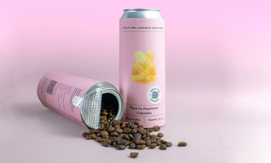 Coffee beans in a can from Manifesto Coffee.