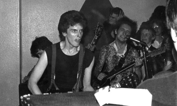 Peter Capaldi with John Rogan, 'B**stards from Hell' gig, February 1978, Glasgow School of Art