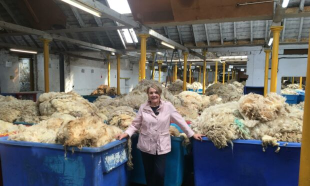 Fiona at the British Wool depot in Galashiels, Scotland's largest wool grading centre.