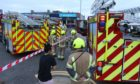 Firefighters at Monifish in Monifieth.