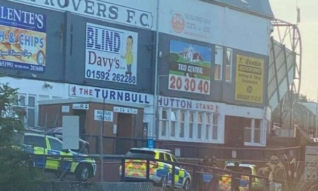 Police outside Stark's Park football stadium in Kirkcaldy. Credit: Fife Jammers Locations.