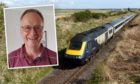 Ian Budd and a train on the Inverness to Aberdeen line