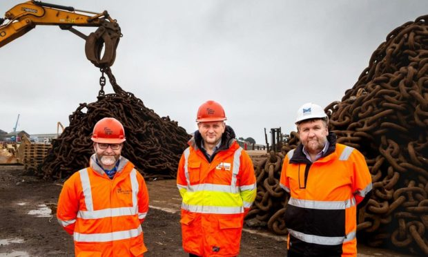 ulian Foley, decommissioning and projects director and Dave Weston, managing director - both John Lawrie Metals, and Captain Tom Hutchison, Montrose Port Authority chief executive.