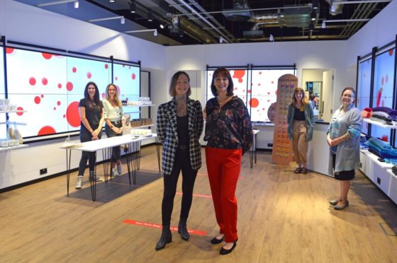 Women's Business Station has taken over a prime shop in Edinburgh. Kate Purdie and Emma Bradbury of Foxglove; Kirstin Strachan of Steedman; Angie De Vos from Women's Business Station; Laura Caldwell of Wear With Grace and Jen McAlinden of Solasonach.