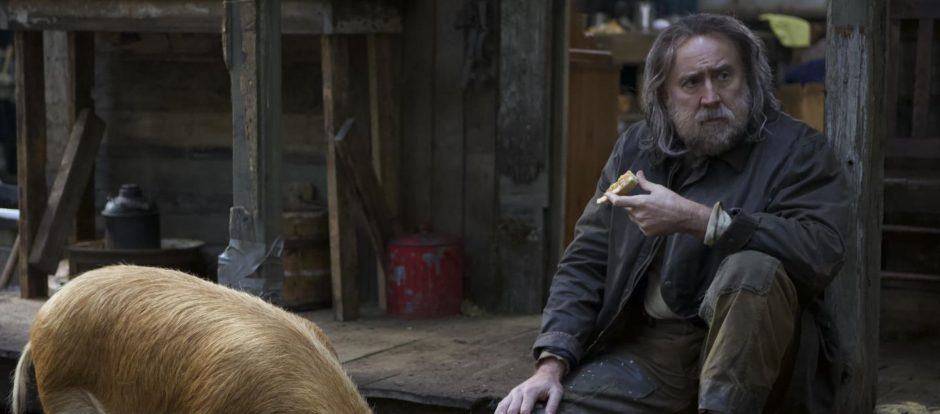 Nicholas Cage acting in a scene from the film Pig.