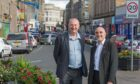 Councillor Crooks and Mr Cepok on Kirkcaldy High Street.