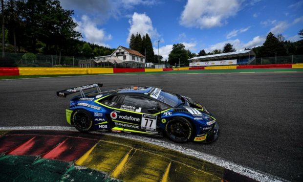 The Barwell Motorsport Lamborghini Huracan GT3 Evo in action at Spa-Francorchamps. Supplied by McMedia