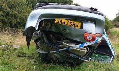 A picture of the flipped car from Fife Jammers Locations
