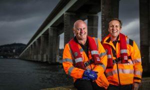 Bridge inspector Matthew Lannen with deputy bridge manager David Robertson.