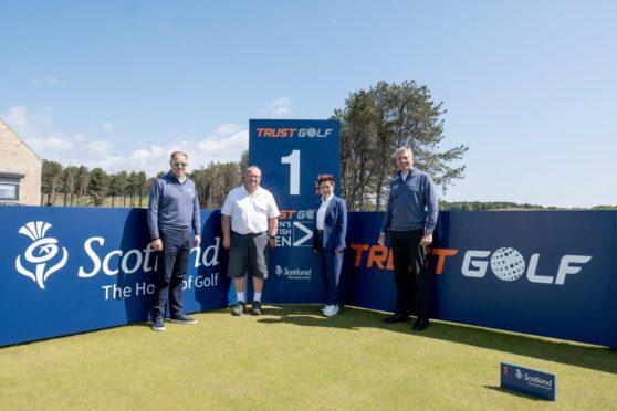 L to R tournament director Ross Hallett, VisitScotland's Paul Bush, Dr Prin Singhanart of Trust Golf and Dumbarnie Links' David Scott.