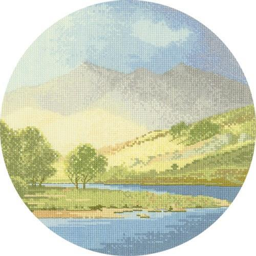 Mountains and Lake Cross Stitch Design