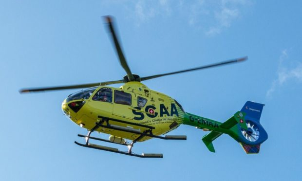 An air ambulance was at the scene.