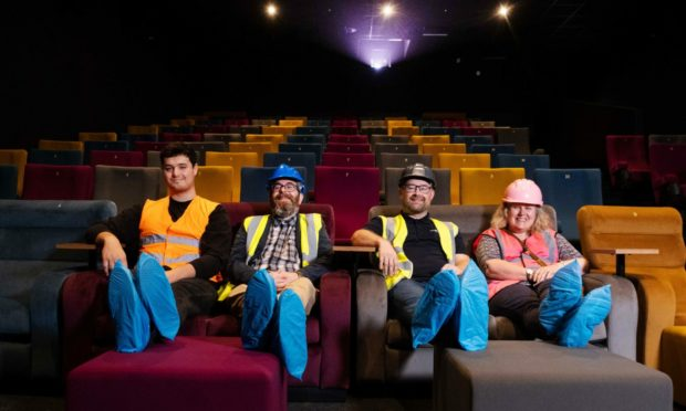 Montrose Playhouse team members in one of the three screens at the new complex. From left: Experience team member Dominic Coull, venue manager Matt Buchanan, Playhouse chairman David Paton and vice-chairwoman Kay Larondie. Pic: Paul Reid.